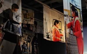 "Installation view. Silk chiffon print ""Jinmai"" Gallery Art Labor Shanghai."